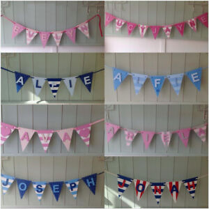 *ANY NAME & ANY COLOURS* Personalised Painted Wooden Bunting Flags & Letters #B2