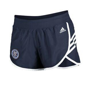 New York City FC MLS Adidas Women's Navy Blue 3-Strie Woven Shorts