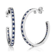 1.50 Inch Beautiful 14k White Gold Filled Blue Sapphire Diamond Hoop Earrings