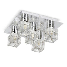 Modern Flush Silver Chrome  Glass Ice Cube 5 Way Ceiling Light Lounge Fitting