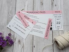 Boarding Pass Ticket Abroad, Destination Wedding Invitation Stationery SAMPLE