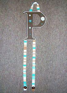 letter P brown aqua dot barrette bow hair accessories holder storage handmade