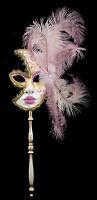 Maschera Di Venezia Per Bastone Piume Struzzo Rosa-Oro-Carnevale venitien-1364