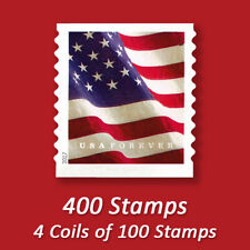 400 USPS FOREVER STAMPS, 4 Coils of 2017 First Class Mail Postage!