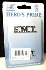 EMT Collar Pin Device Tac Set of 2 Silver Nickel Plated Medical Cut Out Letters