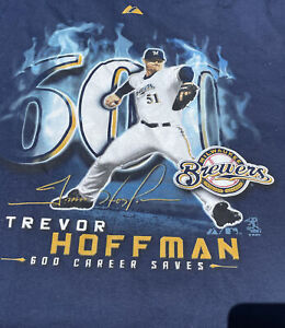 Majestic TREVOR HOFFMAN No. 51 SAN DIEGO PADRES 600 Career Saves (LG) T-Shirt