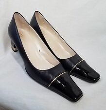 ST. JOHN Leather Shoes Pumps Midnight Navy Blue PATENT TOES Gold Logo 5.5 B