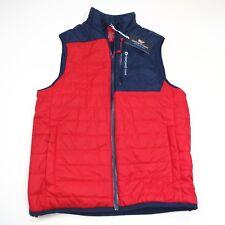 $185 Vineyard Vines Men's Grid Fleece Mtn Weekend Vest Size Small Red/Blue NWT