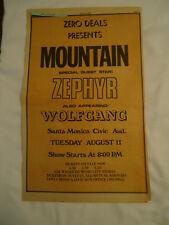 Mountain / Zephyr / Wolfgang concert SANTA MONICA CA 1970 newsprint ad
