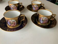FOUR  Royal Vienna Porcelain CUPS AND SAUCERS