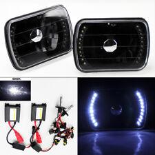 "7X6"" 6K HID Xenon H4 Black LED DRL Glass Headlight Conversion Pair RH LH Plym"