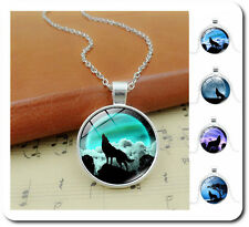 Necklace Wolf Coat of Arms Pendant + Chain Silver Plated Glass Cabochon
