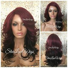 Long Burgundy Lace Front Wig Layered Bangs Dark Ends Ombré Heat Safe Ok