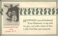 Garnet NY Christmas Greeting c1910 Postcard