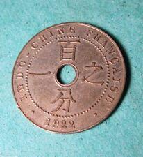 INDOCHINE 1 Cent 1922 -, Rare Pre War PIECE(coin,stück,pieza) en Bronze