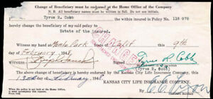 TY COBB - DOCUMENT SIGNED 02/09/1948