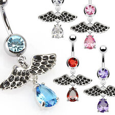 SPECIAL PURCHASE - 5pc Wing w/Gem Teardrop Dangle Belly Rings Navel Naval (B200)
