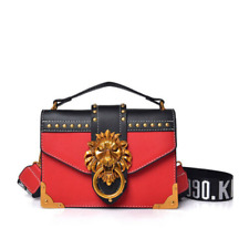 Metal Lion Head Square Pack Shoulder Bag Crossbody Clutch Women Wallet Handbag