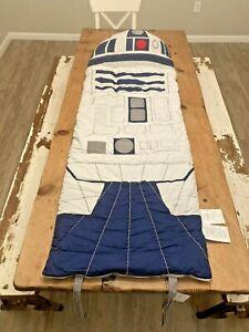 RARE NWT POTTERY BARN KIDS BOYS GIRLS R2-D2 STAR WARS SLEEPING BAG WITH PILLOW