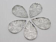 20 Clear Flatback Resin Glitter Dotted Rhinestone Teardrop Cabochons 19X28mm