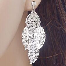 #E430D PAIR Fashion Women CLIP ON EARRINGS Leaf Chandelier Drop Dangle Filigree