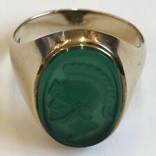Vintage 9ct Yellow Gold Cut Green Glass Centurion Hematite Signet Ring Size Q1/2
