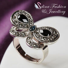 18K White Gold Plated Simulated Crystal Vintage Butterfly Adjustable Ring
