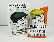 More details for 2 vintage advertising showcards, foldafelt caps, original advertising display.