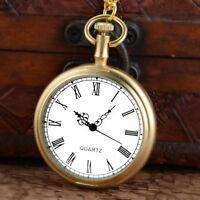 Open Face Roman Dial Golden Quartz Pocket Watch Vintage Antique Necklace Gifts