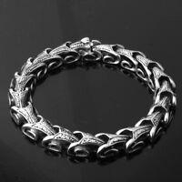 "Fashion Heavy Stainless Steel Silver Snake Link Chain Mens Bracelet Bangle 8.66"""