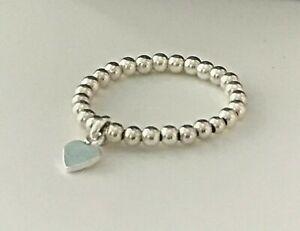 Sterling Silver Beaded Stretch Heart Rings, UK Handmade 925 Silver Heart Ring