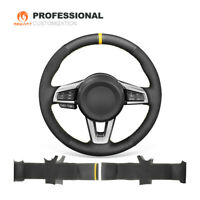 Black Suede Genuine Leather Car Steering Wheel Cover for Mazda MX-5 2016 - 2019