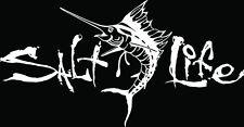 "SALT LIFE SAILFISH & SIGNATURE""WHITE"" Medium UV Rated Vinyl DECAL*FREE SHIPPING*"