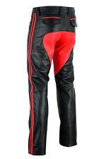 722 Echt Leder hose mit Rotem besatz Sattel,Reithose,Lederhose,pantalon Gr.32W