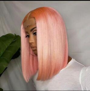Brazilian Human Hair Lace Closure Lace Front Wig Short Bob Straight Baby Pink