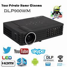 3D Mini Wif DLP Projector Home Theater Bluetooth HDMI VGA RJ45 12000:1 1080P