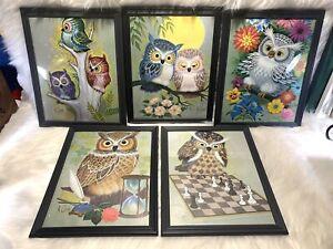Vintage Owl Art Prints K. Chin 1973 Donald Art Co. Lithograph  Framed Set of 5