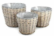 Set di 3 in metallo zincato e Willow BULBO fioriera vasi