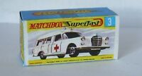 Repro Box Matchbox Superfast Nr. 3 Binz Ambulance