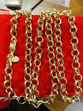 "18K 750 Yellow Gold Rolo Mens Real Chain Necklace 22"" Long 4mm USA Seller"
