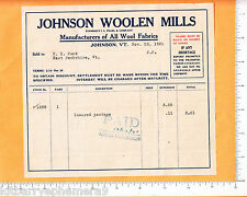 6699 I. L. Pearl Woolen Mill 1921 billhead Johnson VT, H. A Pond, East Berkshire