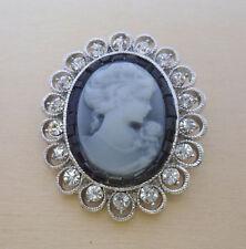 Classic Crystal Black Vintage Cameo Brooch, Pin