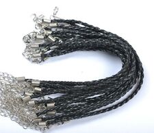 NP752 Wholesale 10pcs Black Color Braided Leather Bracelet Cord 240MM