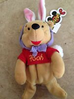 "Disney Mouseketoys Easter Bunny Pooh bear 8"" Plush Mini Bean Bag Toy"
