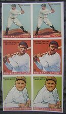 c.1980's Babe Ruth & Lou Gehrig 1933 Goudey Promo Cards Uncut Sheet of 6