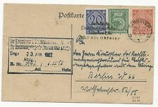 Germany Official Stamps on Postal Card Scott #O5 #O19 #O10 June 22, 1922