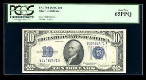 DBR 1934-C $10 Silver Gem Fr. 1704 PCGS 65 PPQ Serial B38492471A