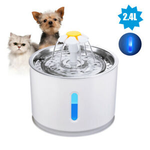 81oz/2.4L Cat Water Fountain Pet Cat Puppy Dispenser with Water Level Window LED