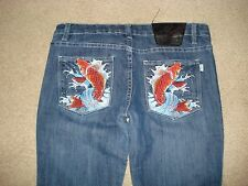 Ed Hardy Womans Orange Japanese Koi Fish Skinny Jeans Size 31