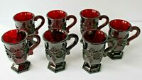 "Vtg Set of 7 Avon Cape Cod Ruby Red Glass 5"" Irish Coffee Mugs Handled Footed"